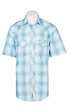 Rafter C Cowboy Collection Men's Light Blue Plaid S/S Western Snap Shirt