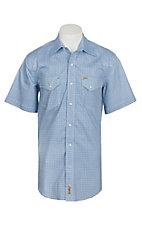 Rafter C ProFlex45 Men's Blue and White Mini Medallion Print S/S Western Snap Shirt - Big and Tall
