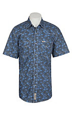 Rafter C Cowboy Collection Men's Navy and Khaki Large Paisley S/S Western Snap Shirt