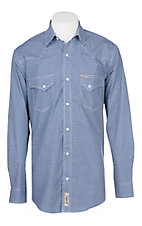 Rafter C Cowboy Collection Navy and White Geo Print L/S Western Snap Shirt