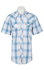 Rafter C Cowboy Collection Men's White and Blue Plaid S/S Western Shirt