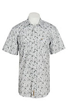 Rafter C Cowboy Collection Men's Grey and White Paisley S/S Western Snap Shirt