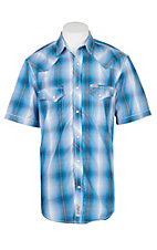 Rafter C Cowboy Collection Men's Navy and Blue Faded Plaid S/S Western Snap Shirt