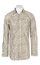 Rafter C Men's Cream, Khaki and Chocolate Paisley L/S Western Snap Shirt