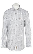 Rafter C Men's Grey and Black Geo Print L/S Western Snap Shirt