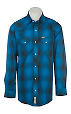 Rafter C Men's Poly Blue and Black Plaid Western Shirt