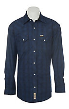 Rafter C Men's Poly Dark Blue and Black Plaid Western Shirt