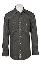 Rafter C ProFlex45 Men's Black and Cream White Wallpaper Print L/S Western Snap Shirt