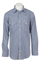 Rafter C ProFlex45 Men's Blue and White Mini Gingham Print L/S Western Snap Shirt