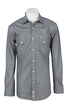 Rafter C ProFlex45 Men's Grey Blue Medallion Wallpaper Print Stretch Long Sleeve Western Shirt
