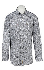Rafter C Men's ProFlex Stretch Black and Grey Paisley Western Snap Shirt