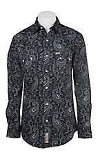 Rafter C ProFlex Stretch Men's Black and White Paisley Print Long Sleeve Western Shirt