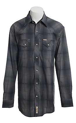 Rafter C ProFlex Stretch Men's Grey Dobby Plaid Long Sleeve Western Shirt