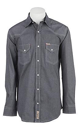 Rafter C Men's ProFlex Stretch Black Micro Stripe Long Sleeve Western Shirt
