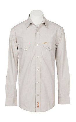 Rafter C Men's ProFlex Stretch Khaki Chambray Long Sleeve Western Shirt