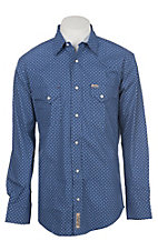 Rafter C Men's ProFlex Light Blue Diamond Geo Print Long Sleeve Western Shirt