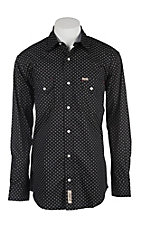 Rafter C Men's ProFlex Stretch Black and White Geo Print Long Sleeve Western Shirt