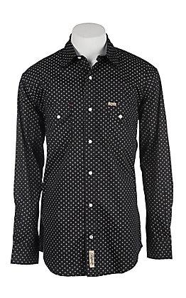 Rafter C Men's ProFlex Stretch Black and White Geo Print Long Sleeve Western Shirt