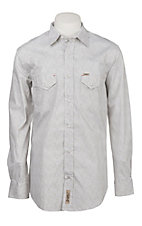 Rafter C ProFlex Stretch Men's Grey and White Paisley Print Long Sleeve Western Shirt