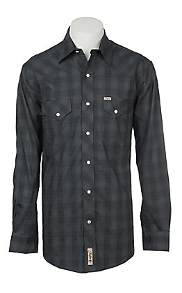 Rafter C Men's Stretch Grey and Black Plaid Western Snap Shirt