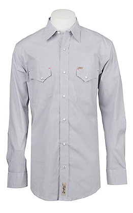 Rafter C ProFlex Stretch Men's Grey and White Micro Gingham Print Long Sleeve Western Shirt