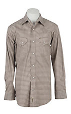 Rafter C Men's ProFlex Grey Diamond Print Long Sleeve Western Snap Shirt -Big & Tall