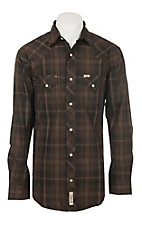 Rafter C Men's ProFlex Stretch Chocolate Brown Plaid Long Sleeve Western Shirt