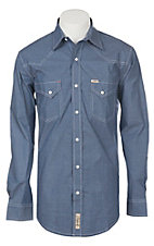 Rafter C Men's ProFlex Stretch Blue Micro Gingham Long Sleeve Western Shirt