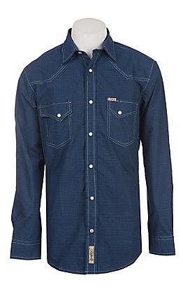 Rafter C Men's Navy Geo Star Print Long Sleeve Western Snap Shirt