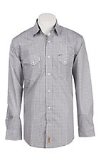 Rafter C Men's White Mini Medallion Print Long Sleeve Western Snap Shirt