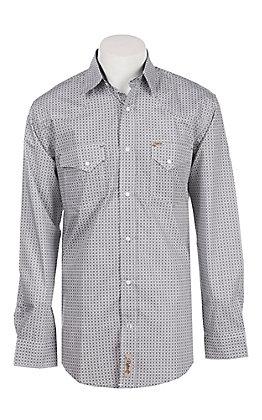 Rafter C Men's White Mini Medallion Print Long Sleeve Western Snap Shirt