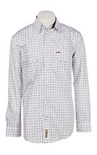 Rafter C Men's White Geo Print Long Sleeve Western Snap Shirt