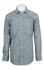 Rafter C ProFlex Stretch Men's White and Navy Geo Print Long Sleeve Western Shirt