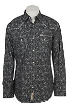 Rafter C Men's ProFlex Black and Grey Paisley Long Sleeve Western Shirt - Big & Tall