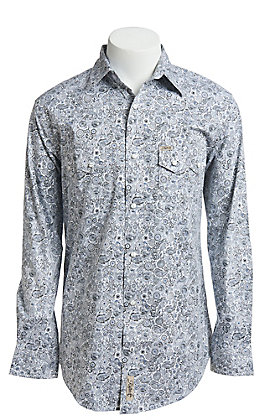 Rafter C ProFlex Stretch Men's White And Grey Paisley Print Long Sleeve Western Shirt - Big & Tall