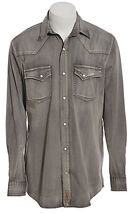 Rafter C ProFlex Performance Stretch Men's Solid Grey Long Sleeve Western Shirt