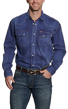 Rafter C ProFlex45 Men's Solid Blue Long Sleeve Western Shirt