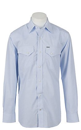 Rafter C Easy Wear 45 Men's Blue Gingham Wrinkle Free L/S Western Shirt