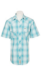 Rafter C ProFlex Stretch Men's Aqua Plaid Print Short Sleeve Western Shirt