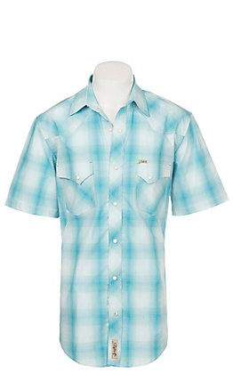 Rafter C ProFlex Stretch Men's Aqua Plaid Print Short Sleeve Western Shirt