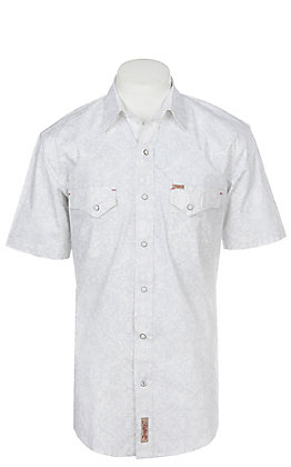 Rafter C Men's Stretch White Print Short Sleeve Western Snap Shirt