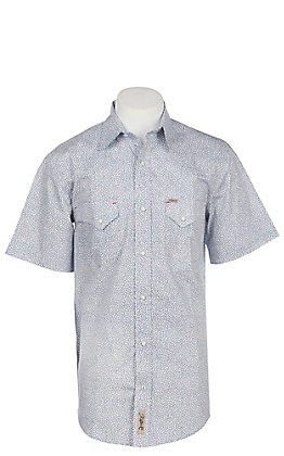 Rafter C Men's Stretch Navy and Red Print Short Sleeve Western Snap Shirt