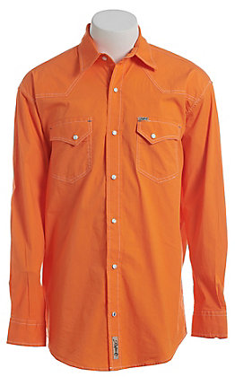 Rafter C ProFlex Stretch Men's Solid Orange Long Sleeve Western Shirt