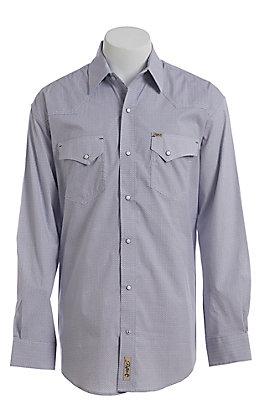 Rafter C ProFlex Stretch Men's Blue With Khaki White Geo Print Long Sleeve Western Shirt