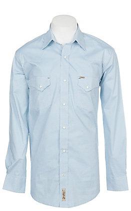 Rafter C ProFlex Stretch Men's Light Blue Geo Print Long Sleeve Western Shirt