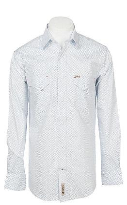 Rafter C ProFlex Stretch Men's Micro Blue Paisley Print Long Sleeve Western Shirt