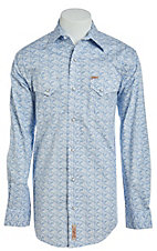 Rafter C Men's ProFlex Mini Blue Paisley Long Sleeve Western Shirt