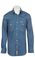 Rafter C ProFlex Stretch Men's Blue Geo Print Long Sleeve Western Shirt