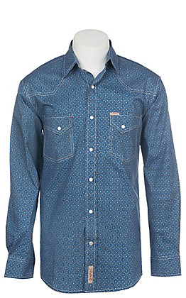 Rafter C ProFlex Stretch Men's Blue Geo Print Long Sleeve Western Shirt
