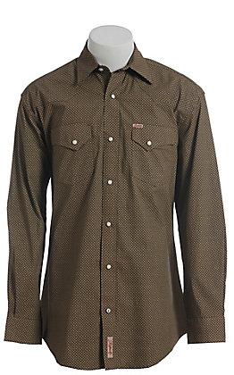 Rafter C ProFlex Stretch Men's Black With Khaki Diamond Print Long Sleeve Western Shirt